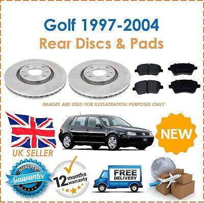 For VW Golf MK4 1997-2004 Two Rear Vented 256MM Brake Discs & Brake Pads Set New