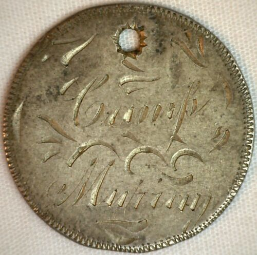 Love Token on US Silver Quarter Coin Engraved Camp Muhiny 1895 GJD  Hole   K