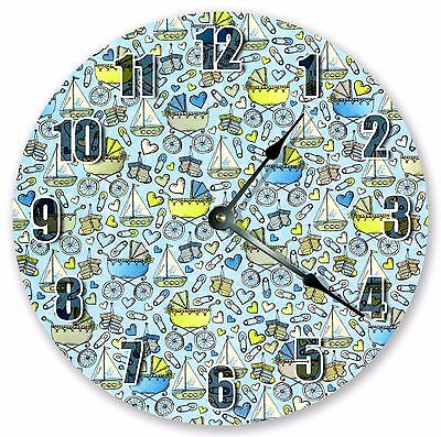 "10.5"" BLUE BABY BOYS STUFF CLOCK Large 10.5"" Wall Clock Home Décor Clock - 3012"