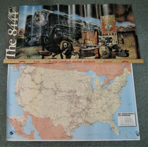 Union Pacific Railroad 8444 Steam Locomotive Poster & System Wall Map