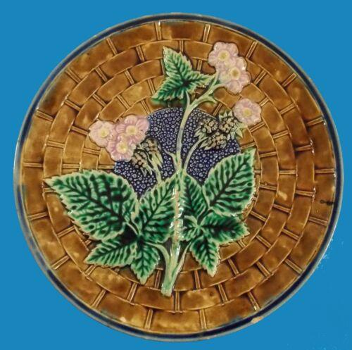 "Antique Majolica10 1/4"" Blackberry & Vine Plate Amazing Color Cobalt Highlights"