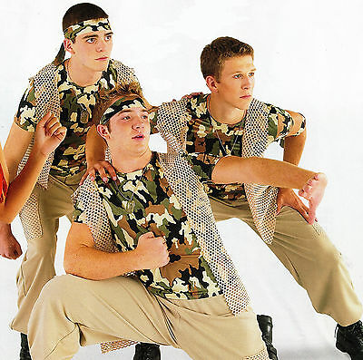 MILITARY COSTUME  Men's XLA 3 pc VEST PANTS DANCE Commander Militia Camoflauge - Military Dance Costumes