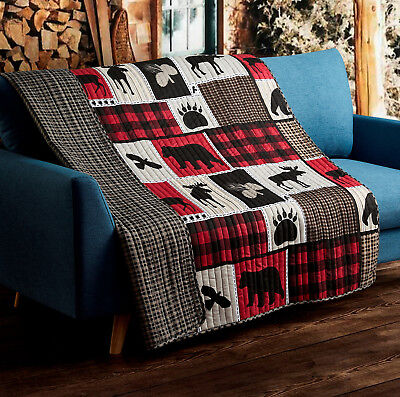 LODGE LIFE BLACK BEAR PAW 50x60 QUILT THROW : MOOSE CABIN RED BUFFALO BLANKET ()