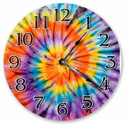 10.5 COLORFUL TIE DYE BOHEMIAN CLOCK - Large 10.5 Wall Clock - Home Decor 3360