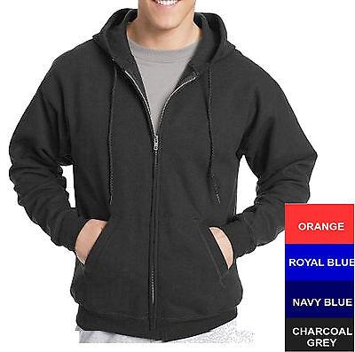 Hanes Cotton Blend Full Zipper Hoodie Solid Plain Blank Long