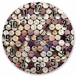 10.5 WINE BOTTLE CORKS CLOCK - Large 10.5 Wall Clock - Home Décor Clock - 3045