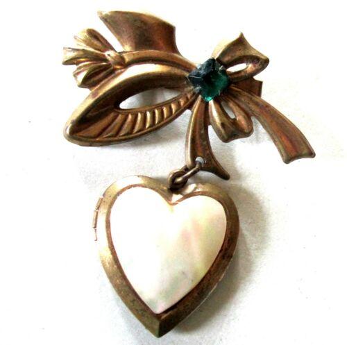 LOVELY LATE ART DECO HEART LOCKET PIN 40