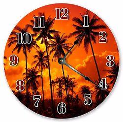 10.5 PALM TREES SUNSET CLOCK - Large 10.5 Wall Clock - Home Décor Clock - 3200