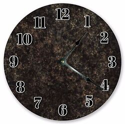 10.5 BLACK RUSTIC MARBLED CLOCK - Large 10.5 Wall Clock  Home Décor Clock 3191