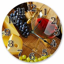 10.5 WINE CLOCK WITH FRUIT GRAPES Large 10.5 Wall Clock Home Décor Clock- 3056