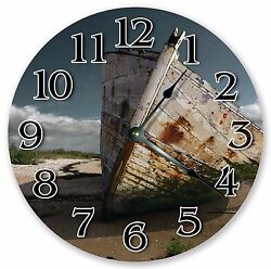 10.5 OLD RUSTIC ABANDONED BOAT CLOCK - Large 10.5 Wall Clock - Home Decor 3198