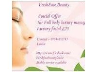 Massage and beauty offer £25 massage and facial
