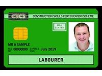 CSCS Green Card for Laborers - guaranteed Job*Wed.31.08.16-from 29.99 QCF L 1 H&S & CITB - 1 day*