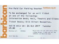 Car Park Ticket for Barbican London, Tues 24th Oct 2017