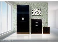 Black gloss 3piece bedroom set
