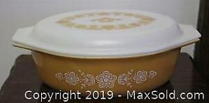 Vintage Pyrex 2 1/2 Qt #45 Butterfly Gold Casserole Dish With Lid