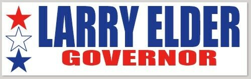 Larry Elder California Governor Bumper Sticker   Waterproof
