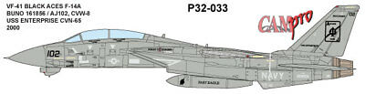 CAM PRO DECAL, 1/32 SCALE, P32-033,  VF-41 BLACK ACES F-14A