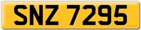 """""""SNZ 7295"""" DATELESS CHERISHED PERSONAL NUMBER PLATE."""