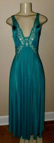 Vintage Olga Green Full Sweep Full Length 9297 Nightgown Size Medium