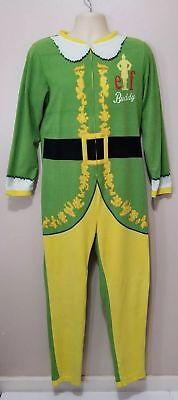 ELF THE MOVIE ADULT MENS BUDDY THE ELF 1/2 ZIP ONE PIECE PAJAMAS LARGE  - Mens Elf Pajamas