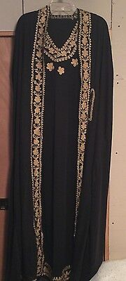2 pieces EXCLUSIVE FANCY KAFTAN ARABIAN WOMEN DRESS ABAYA JALABIYA ISLAMIC