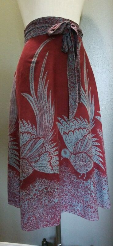 True VINTAGE 1970s INDIA Cotton Burgundy Gray Birds Skirt Boho Hippie EVC