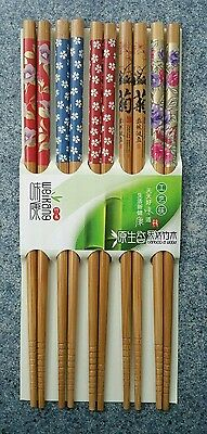 (5 Pair Chopsticks Classic Bamboo Wood Beautiful Print Design Gift Set NEW)