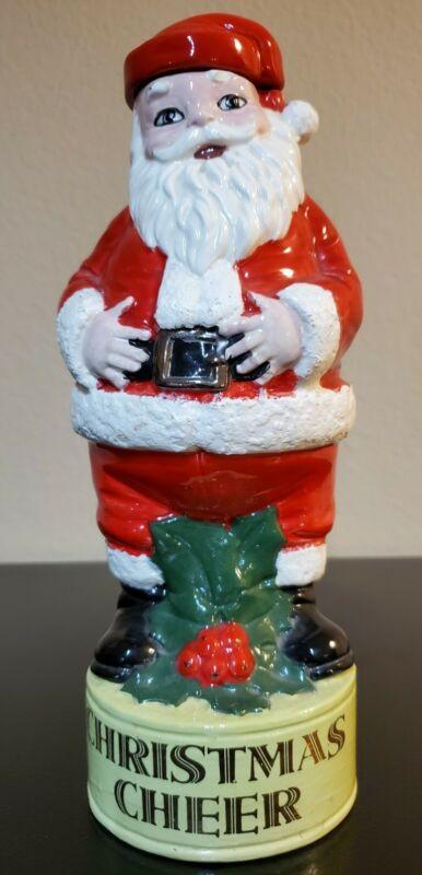 Vintage Christmas Cheer Santa Claus Liquor Decanter - appx 12 inches