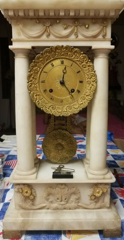 ANTIQUE FRENCH EMPIRE ALABASTER MANTEL CLOCK W/COLUMNS 1850
