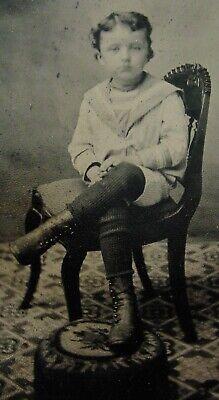 ANTIQUE TINTYPE PHOTO PORTRAIT OF A CUTE LITTLE BOY WEARING A NICE SAILOR - Cute Sailor Outfit