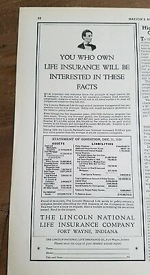 1935 Lincoln National Life Insurance Company 1934 Financial Statement Ad