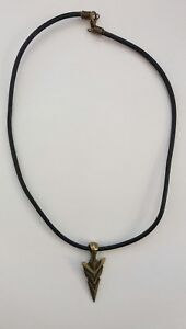 Antique Bronze Arrow Head pendant cord necklace. On real Black Leather cord.gift