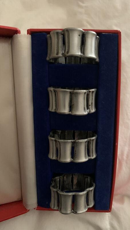 VTG Napkin Rings Pewter Set Of 4 In Box