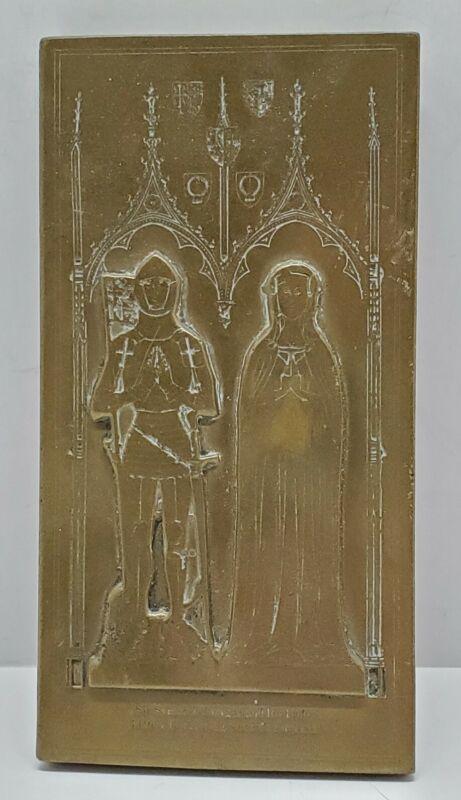 Vtg Brass Rubbing Plaque Sir Felbrygge & Lady 1416 AD Felbrigg Norfolk England