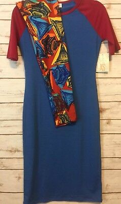 NWT LuLaRoe Outfit XS JULIA Solid Blue Maroon Sleeves & OS Phonograph Leggings ()