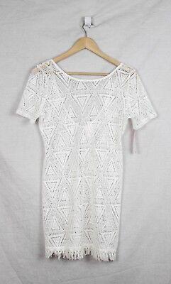 - Xhilaration White Lace Dress Size Medium Festival Boho Mini Fringe Hem New