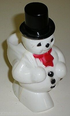 VINTAGE CHRISTMAS ROSBRO PLASTIC SNOWMAN CANDY CONTAINER- 1950's -EC