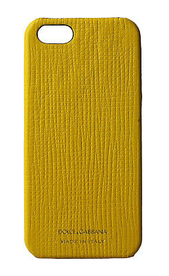 NEW $220 DOLCE & GABBANA Phone Case Yellow Gold Logo Leather 12,5x6cm iPhone5