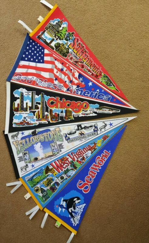 Lot of 6 Vintage Large Full Size Souvenir Pennant Flags Nice Assortment
