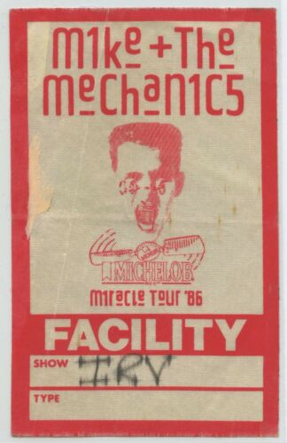 1986 MIKE and MECHANICS Irvine Ca, Backstage PASS - MIRACLE Tour GENESIS related