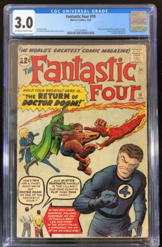 "FANTASTIC FOUR #10 CGC 3.0 ""OW to White"" 🔑 Doctor Doom App. Invisible Girl pin"