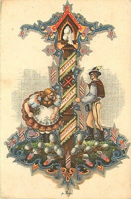 1940s Postcard Happy Easter to Hungary Couple in Magyar Costume - 1940's Couples Costumes