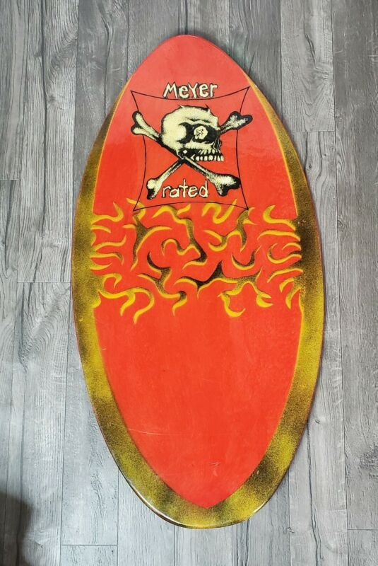 Meyer X Rated Brand Vintage Wood Skimboard Body Boogie Skull Great Condition