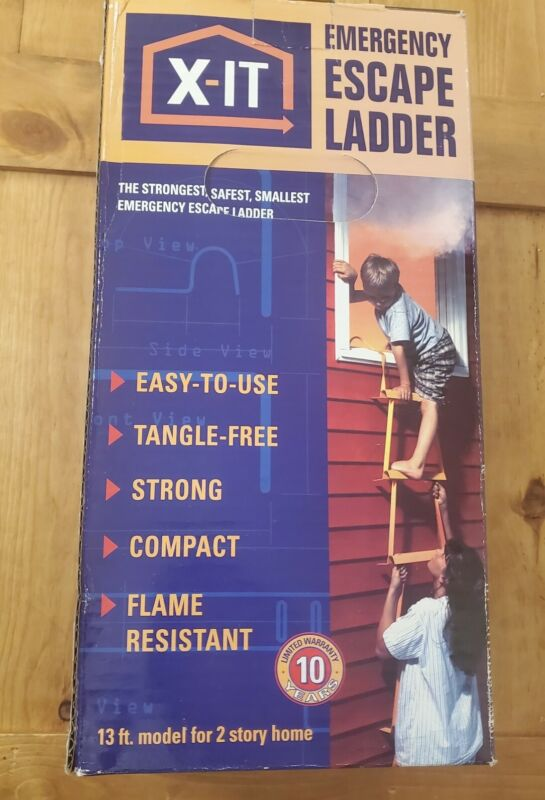 X-it Emergency Escape Ladder. 13 ft for 2 story Homes. New in Box!