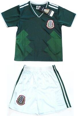 Mexico Soccer Home Green Jersey White Shorts Uniform Kit Kids Youth