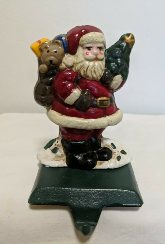 Vintage Heavy Cast Iron SANTA CLAUS Christmas Stocking Holder Hanger 4 1/2""