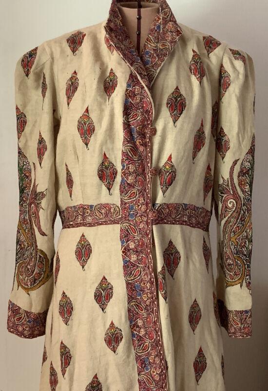 Vintage RARE Kashmiri Chogha Robe Wool Hand Embroidered Paisley Wool India