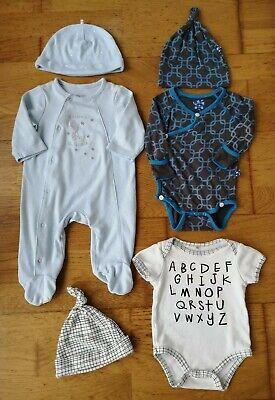 Little Me Chick Pea Kickee Pants Bundle 3 Months baby Grow body suit hats