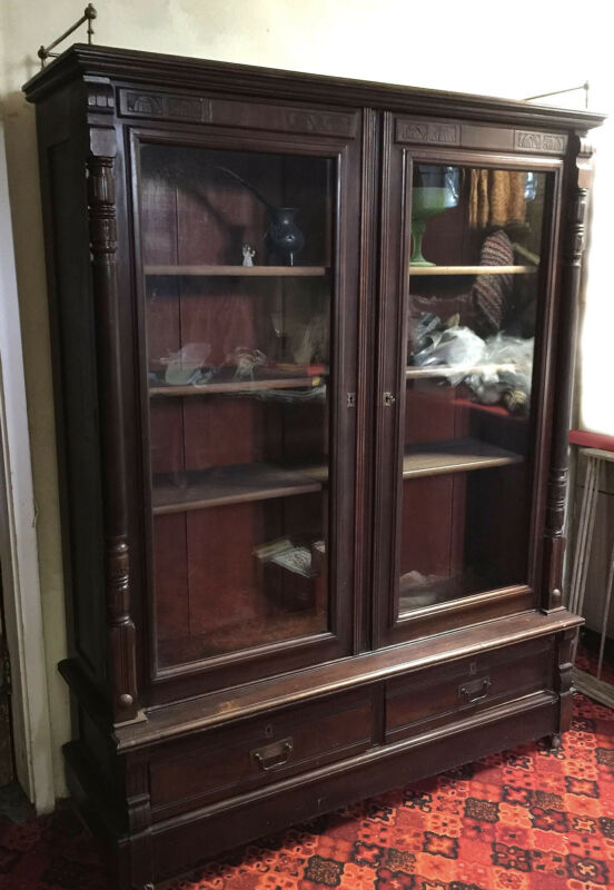 Vintage Antique Cherry? Mahogany? Locking Bookcase / Display Case / Cabinet